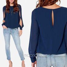 2014 mujeres blusa de la primavera moda camisetas de manga larga Hollow Out blusa de la gasa más el tamaño XXL casual Blusas XE3272 # s10(China (Mainland))
