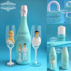 """Купить Свадебный набор """"Жених и Невеста""""(WeareIbiza). Роспись. - мятный, свадебные аксессуары, свадебный набор"""