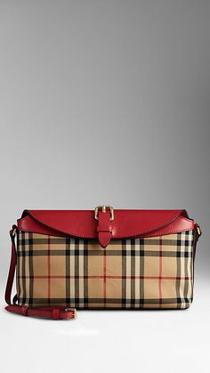 Honey/parade red Small Horseferry Check Clutch Bag - Image 1