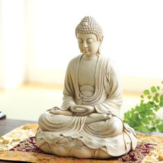 Buddha on Lotus Throne Statue:DharmaCrafts meditation supplies