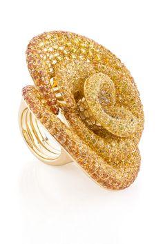 rosa giallo ring 88.70 grammi 21.58ct diamanti gialli ct.1.01 diamanti bianchi