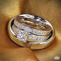 """Soul mates -  This perfect his-her wedding set, perfect Whiteflash couple """"I DO's""""!"""
