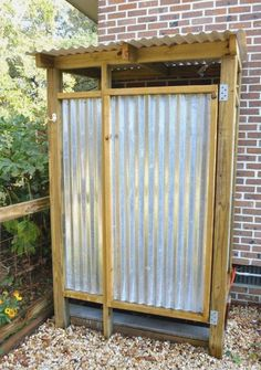 corrugated metal shower shower metal shower stall enclosure outdoor shower more things to do with our old barn corrugated metal walk in shower Outdoor Baths, Outdoor Bathrooms, Outdoor Kitchens, Backyard Projects, Outdoor Projects, Outdoor Spaces, Outdoor Living, Outdoor Decor, Outside Showers