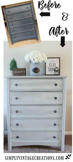 Farmhouse Dresser Makeover - How to make a color wash with chalk paint.  Dresser was painted with DIY chalk paint that matches Annie Sloan French Linen and color washed with a half and half mix of Old White and Old Ochre dupes.