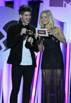 Joey Graceffa (Left) and Justine Ezarik during the MTV Fandom Fest San Diego Comic-Con Awards in July 2015...