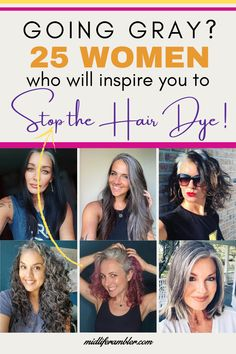 Thinking of going gray? These women are sharing their journey with growing in their gray and growing out their hair dye and showing us all how to go gray gracefully. They'll inspire you to ditch your hair dye and let your gray grow in too, I promise!