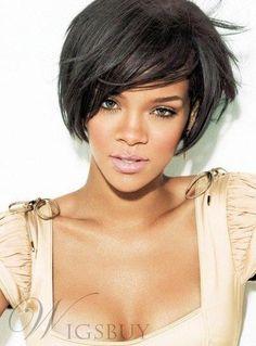 #WigsBuy - #WigsBuy Rihanna Short Straight Boy Cut Hairstyle Capless Synthetic Wigs 8 Inches - AdoreWe.com