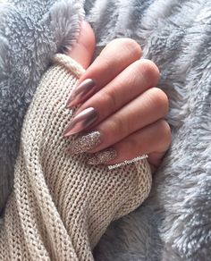 Rose gold chrome sparkle stiletto nails
