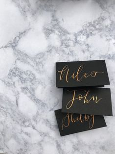 Calligraphy Place Setting Cards/ Tented Escort Cards/ Wedding Calligraphy/ Custom Calligraphy/ Pl... Beautiful Calligraphy, Wedding Calligraphy, Wedding Cards, Wedding Gifts, Custom Rubber Stamps, Tent Cards, Gold Ink, Name Cards, Wedding Stationary