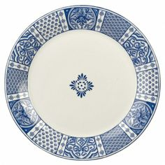 The traditional blue patterns & blue scroll combine with colorful whimsy to create a perfect combination for your table. Show your unique style with the The Courtyard Dinner Plate and Courtyard Dinnerware Pattern! Made of long-lasting stoneware.