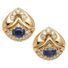Bulgari sapphire diamond gold Ear clips  | From a unique collection of vintage clip-on earrings at https://www.1stdibs.com/jewelry/earrings/clip-on-earrings/