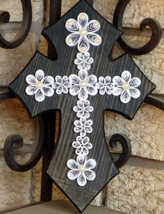 Wooden Cross with white quilled design & pearls