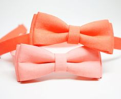 Peach Coral Bow Tie for Boys Toddlers Baby  pre by lovelywillow, $15.00
