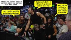 Dean Ambrose Seth Rollins and Roman Reigns Dean Ambrose Seth Rollins, Wwe Funny, Roman Regins, The Shield Wwe, Watch Wrestling, Parenting Issues, Funny Quotes, Funny Memes, Wwe Roman Reigns