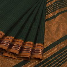 Handwoven Green Narayanpet Cotton Saree With Checks, Zari Border & Without Blouse 10013296 - AVISHYA.COM