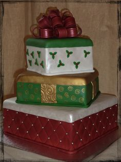 """- My cake for our big Christmast family gathering.  10"""" dummy tier, then the 8"""" is chocolate with french vanilla frosting w crushed candy cane filling (yum!!!), 6"""" is pumpkin spice with cream cheese frosting.  All decorations are fondant except for bow with is fondant/gumpaste.  TFL!!!"""
