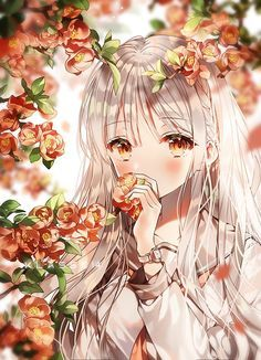 Anime with a charming flower background Fille Anime Cool, Art Anime Fille, Cool Anime Girl, Pretty Anime Girl, Girls Anime, Cute Anime Pics, Beautiful Anime Girl, Kawaii Anime Girl, Anime Art Girl