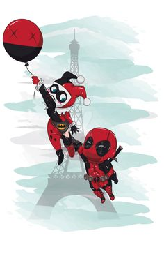 """Harley & Deadpool"" by James Marcia, signed 11X17 print"