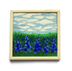 Blue flowers Fibеr Art Wall hanging Framed Embroidery Cottage painting