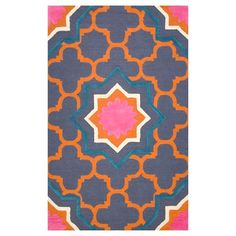 gipsy color orange blue pattern pink rug love it  brighten up room bring fun