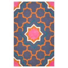 gipsy color orange blue pattern pink rug love it  brighten up room bring fun