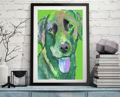 Labrador dog print Colorful abstract, Green labrador dog print, Dog Labrador gift idea by OjsDogPaintings: 7.18 GBP… #dogs #etsy #art