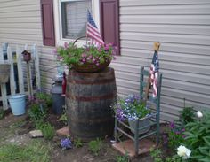 Old Milk Can, Mop Bucket, big ole basket barrel and chair..
