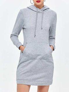 Prezzi e Sconti: #Casual long sleeve drawstring mini hoodie  ad Euro 16.83 in #Women > dresses > casual dresses #Dresses
