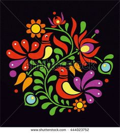 Andrea Molnar's Portfolio on Shutterstock Mexican Embroidery, Hungarian Embroidery, Folk Embroidery, Learn Embroidery, Folk Art Flowers, Flower Art, Chain Stitch Embroidery, Embroidery Stitches, Bordado Popular