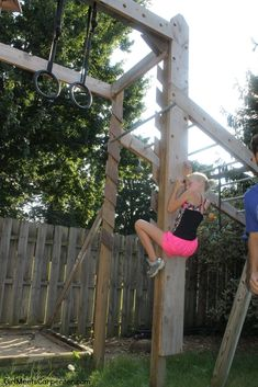 DIY Peg Wall For Kids And Adults, Backyard Ninja Obstacle Course, By Girl Meets Carpenter Featured On @Remodelaholic Backyard Jungle Gym, Backyard For Kids, Backyard Projects, Diy For Kids, Backyard Patio, Outdoor Jungle Gym, Diy Projects, Backyard Obstacle Course, Kids Obstacle Course