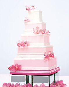 Pink #weddingcake with sugar orchids | Brides.com