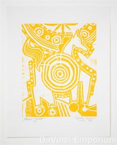 Mark T. Smith Target Horse Yellow Edition Linocut Block Print Signed Numbered #Abstract