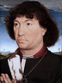 Portrait of a Man from the Lespinette Familiy. vers La Haye (Den Haag) The Hague Mauritshuis. Renaissance Portraits, Renaissance Paintings, Potrait Painting, Painting & Drawing, Hans Memling, Medieval Hairstyles, Old Portraits, Landsknecht, Landscape Background