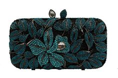 YILONGSHENG Women Flower Rhinestones Evening Bags EB0874 Blue Clutch Purse, Coin Purse, Rain Shower, Fashion Handbags, Evening Bags, Designer Handbags, Rhinestones, Sparkle, Wallet