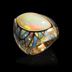 Mousson atelier, Four Seasons collection, ring, Yellow gold 750, Opal 10,97 ct., Enamel