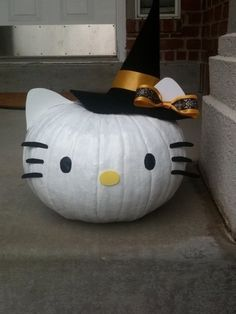 Painted Hello Kitty Witch Pumpkins