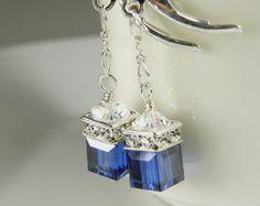 Navy Blue Crystal Earrings, Petite Cube, Silver, Drop Bridesmaid Wedding Handmade Jewelry, Sapphire, September Birthstone Birthday