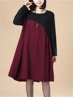 Vintage Women O-Neck Long Sleeve Patchwork Knee-Length Casual Dress Vintage  Party Dresses 1c6434de6310