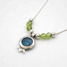 Sterling silver necklace, roman glass necklace, pomegranate roman glass pendant  peridots , Israeli roman glass jewelry , pomegranate charm