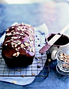 This Chocolate Tea Cake is topped with a chocolate-almond glaze. #desserts #cake