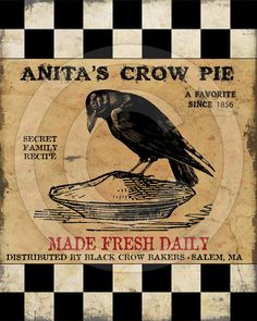 Primitive Crow Pie RavenPrintable Digital by HoneyBeePrintables, $3.00