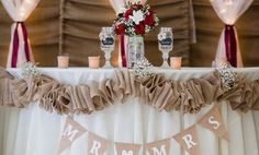 mason jar wine glasses burlap wedding reception decor