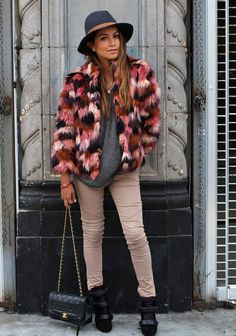Multi coloured faux fur coats - the next big thing