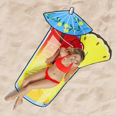 b4ecea42e Our Tropical Drink Beach Blanket design is a bigger, funner way to keep your  buns off the sand. It's soft, bright, and 5 feet wide so you can stretch  out ...