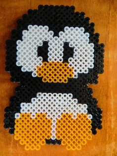 Penguin perler bead craft.