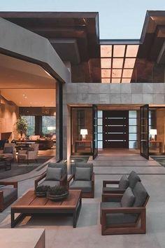Modern House Design & Architecture : Nice inside outside flow Dream Home Design, Modern House Design, Home Interior Design, Luxury Interior, Kitchen Interior, Resort Interior, Luxury Decor, Interior Modern, Modern Luxury