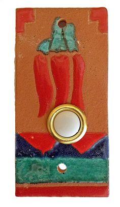Red Chili Pepper Southwest Ceramic Tile Doorbell Cover