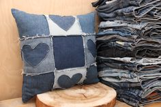Denim recycled decorative pillow , blue jeans pillow , handmade pillow , upcycled denim pillow , country style pillow , Quilting technique by SecondBirthday on Etsy https://www.etsy.com/listing/479076556/denim-recycled-decorative-pillow-blue