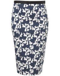 Topshop Rabbit Print Pencil Skirt in Blue | Lyst