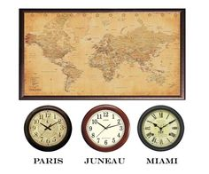 I love this!! Get 3-4 clocks from my favorite places (or destinations) and hang them on all four walls....I'm so doing this!